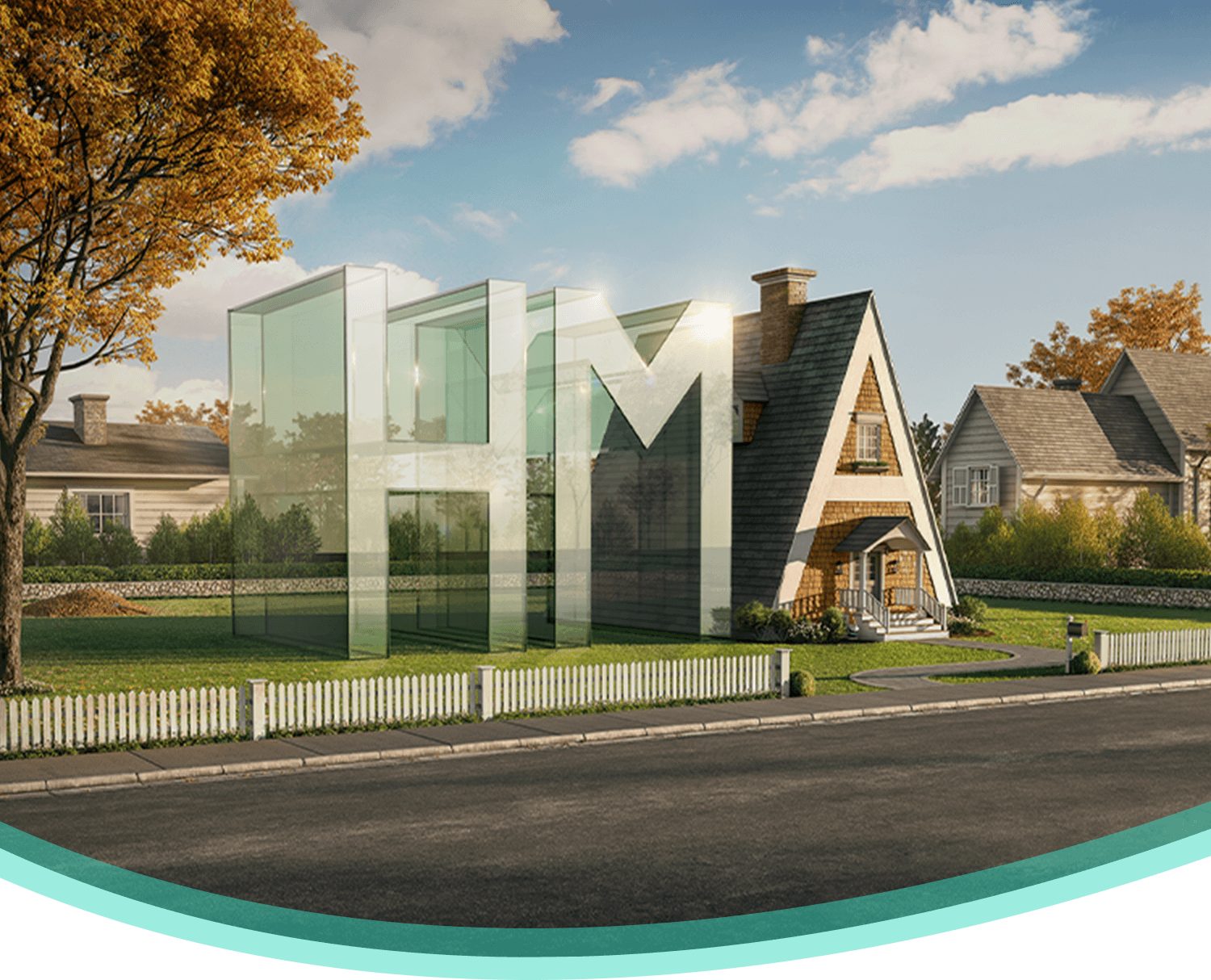 Capital letters HMA in a yard where the A has roof, chimney, and door to look like a home