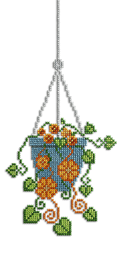 Cross stitch of a hanging plant